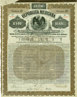 Republica Mexicana, £500 = 10200 Mark = US-$2425, 1899